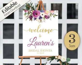 Welcome Sign Bridal Shower Template, Editable PDF, ANY EVENT, Bridal Baby Wedding Baptism Birthday Shower Sign, Lavender Purple Gold Floral