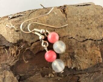 Rhodochrosite & Botswana Agate Earrings