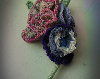 shabby chic textile vintage style corsage brooch pin