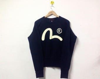 Rare!!! Hidehiko Yamane By Evisu Sweatshirt Big Logo Japanese Brand Designer