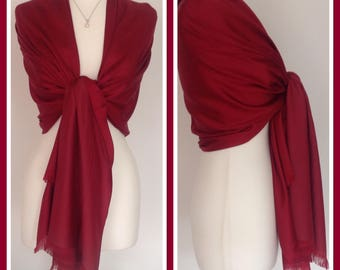 Red 100% Silk Wrap Shawl Scarf Brides Bridesmaids Weddings Races Gift Idea