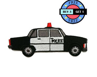 Police Car Embroidered Iron On Patch Heat Seal Applique Sew On Patches
