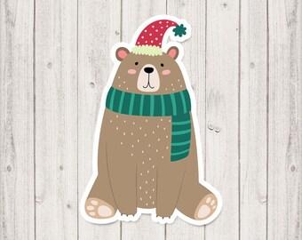 Christmas bear planner Die cut stickers, planner die cut stickers, stickers die cuts, bear die cut, cute die cut, DC005