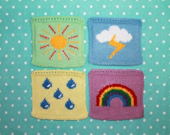 Knitting Pattern PDF Download - Weather Symbols Intarsia Squares for Blanket, Bunting Wall Hanging, Wall Art