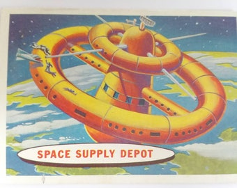 Space Supply Depot Topps Target Moon Trading Card Number 53 of 88 1958 Salmon Back Non Sports Atomic Age Mid Century Collectible Card Art