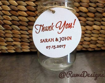 Customized Round Tags with metallic foil imprint for Wedding Gifts/Favors