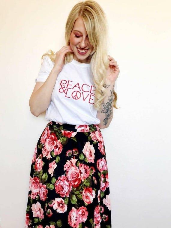 PEACE & LOVE Tee, Peace Tee, Love Tee, Peace and Love, Valentine's Day Tshirts, Heart Shirts, Peace and Love, Love Tshirts