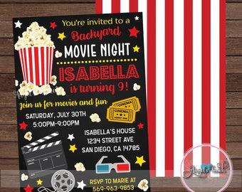 Movie Party Invitation, Movie Night Party Invitation, Backyard Movie Night Invitation, Movie Night Birthday Invitation, Digital File.