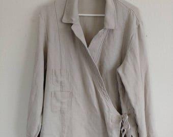 Vintage Linen Wrap Jacket