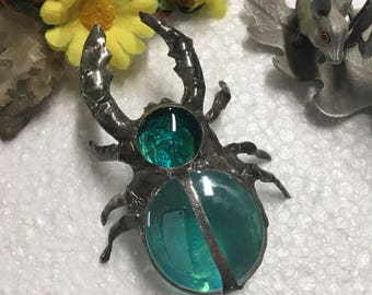 Stag Beetle - Teal glass sculpture bug