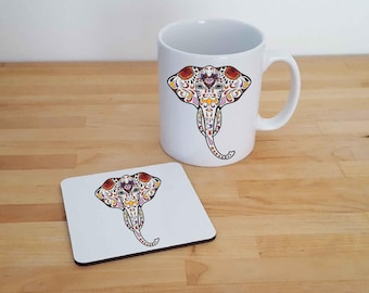 Wild Life Sugar Skull Design Mug & Coaster Gift Set. Various designs. Elephant, Lion, Owl, Snake, Cat, Fox, Wilderbeast. Can Be Personalised