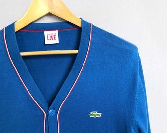 LACOSTE L!VE • Cardigan • XL • Pullover • Crocodile • Blue • Vintage • Cardigan • Oversized • Knitwear