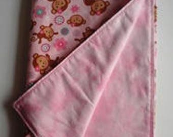 Pink Monkey Flannel Receiving Blanket
