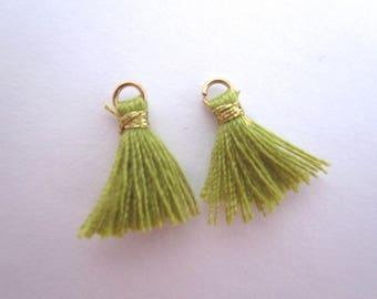 Set of 2 mini green tassel