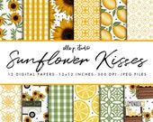 Sunflower Kisses Paper Set / Digital Scrapbook Paper / Summer Patterns / Sunflower Paper / Wallpaper/Backdrop