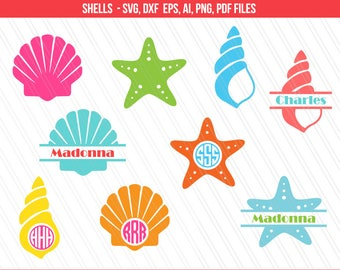 Sea shells svg, Mermaid shell svg, Seashell svg, Star fish svg,  Sea Life svg , DXF, PNG, Cricut files, Seashell monogram svg