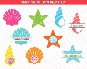 Sea shells svg, Mermaid shell svg, Seashell svg, Star fish svg,  Sea Life svg , DXF, PNG, Cricut files, Seashell monogram svg