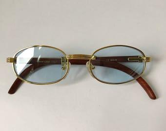 Cartier Wood Sunglasses, Vintage Frames, Gold and Wood Glasses, Woodline Eyewear, Gold Plated Frame, Brown Wood Temples Blue Lenses