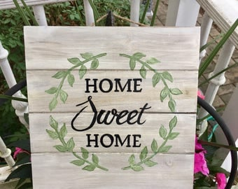 Home Sweet Home Sign, Hand Painted Sign, Painted Wood Sign, Custom Wood Sign, Welcome Sign, Front Door Sign, Custom Signs, Original Signs