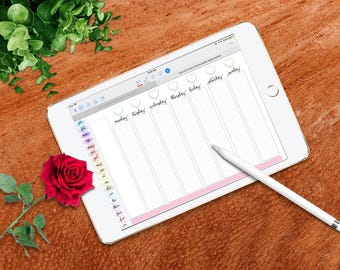Have It Your Way Full Screen Digital Planner for GoodNotes, Landscape, Hyperlinks, Pastel Rainbow