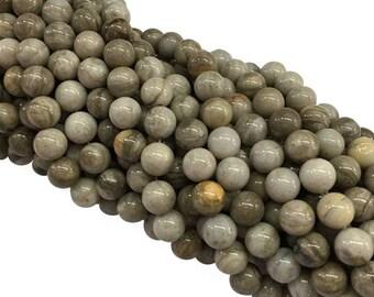 1Full Strand Silver Leaf Jasper Beads, 8mm 10mm Wholesale Gemstone For Jewelry Making