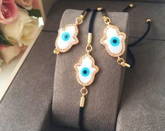 Hamsa bracelet, hamsa evil eye bracelet, mother of pearl hamsa bracelet, gold hamsa bracelet, black string evil eye bracelet, nazar boncuk