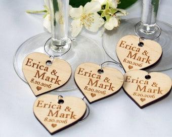 Wedding wine charms, Wine charms, Wine glass charms, Wedding charms, Custom wine charm, Wooden wine charms, Wedding favor, Anniversary charm