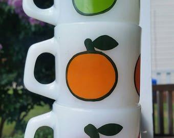 Set of 3 FIRE KING Super Fruit Milk Glass Stacking Mugs