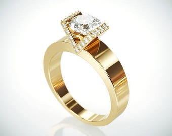 SALE! 14K Solid Gold Moissanite Engagement Ring  | 14k yellow gold Forever One Mossanite and Diamonds engagement ring Charles & Colvard