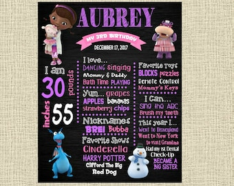 Doc McStuffins Birthday Chalkboard Poster - Wall Art design - First Birthday Poster Sign - Any Age