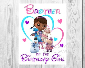 Doc McStuffins Birthday Iron On Shirt Transfer - Disney tshirt or clip art printable - Instant Download - Brother of the Birthday Girl