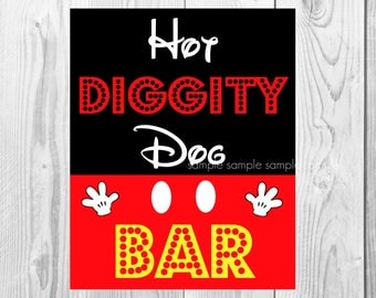 "Hot Diggity Dog Sign, Mickey Mouse Birthday Party Sign, 8""x10"" Printable, Instant Download"