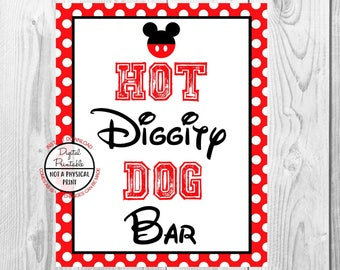 "Hot Diggity Dog Bar Sign, Mickey Mouse Birthday Party Sign, 8""x10"" Printable, Instant Download"
