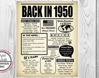 Back in 1950, 68 Years Ago Back in 1950, 68th Birthday Poster Sign, Born in 1950 Newspaper Style Poster, Printable, Anniversary Gift