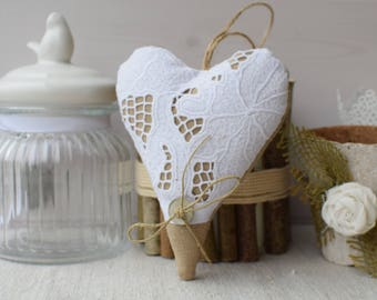 Brown fabric heart and lace veil white - door - fabric heart - heart shabby pillow - hanging heart