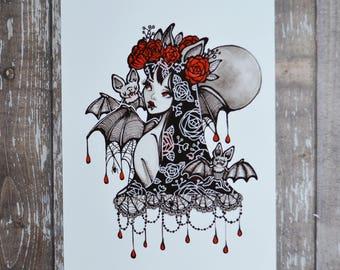 Vampire Bat - 5x7 Inch Halloween themed Art Print from Drawlloween / Inktober 2017