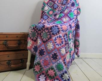 Vintage Granny Square Blanket, Hygge, Crochet Blanket, Throw