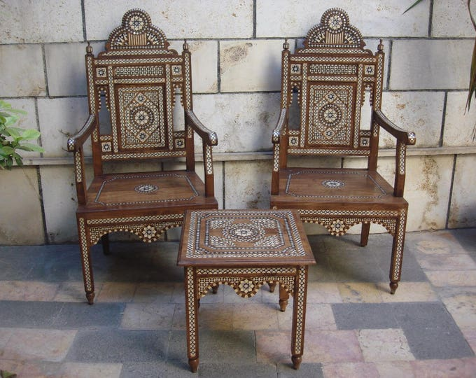 Featured listing image: Pair of wooden Chairs with a serving table, Wood armchairs, Syrian mosaic chairs with serving table, Decorative chair, Marquetry wood
