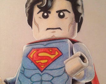 Coloured Pencil Drawing of Lego Superman