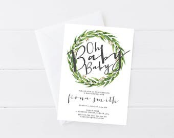 Baby Shower Invitation Gender Neutral | Rustic Baby Shower Invitation | White Flowers | Eucalyptus Wreath