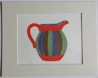 Original paper collage matted for hanging – Pitchers & Bowls Series #42