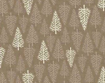 By The HALF YARD - Scandi 2 by The Henley Studio for Makower UK, Pattern #1477-T Trees, Cream and Taupe Trees on Taupe