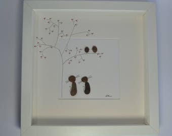 Cat Pebble Art Picture, Two Cats and Two Birds Pebble Art,