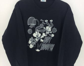 Vintage 90's Tiny Toon Walt Disney Tokyo Disneyland Cartoon Classic Design Skate Sweat Shirt Sweater Varsity Jacket Size M #A804