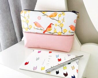 Romantic Japanese organic cotton pouch