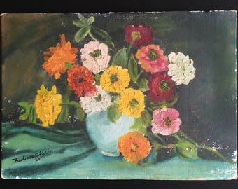 Signed vintage oil painting on board, 1950s, still life with flowers, original art