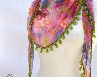 Crochet necklace scarf, Boho Chiffon Scarf, Floral Scarf, Beaded, Fringed Crochet edge Bohemian Scarf