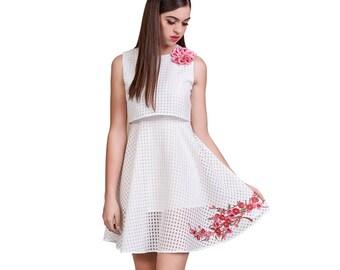 Organza White Popover Dress