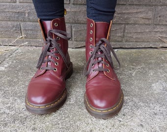 Ox blood red Dr Martens boots vintage style