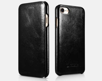 iPhone 7/8 ICARER 2017 Black Vintage Leather Flip Phone Case